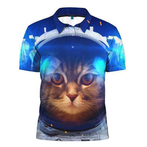 Мужская рубашка поло 3D  Фото 01, Кот космонавт