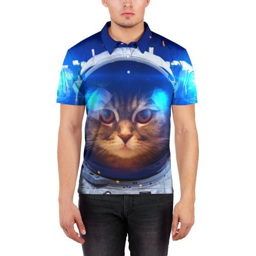 Мужская рубашка поло 3D  Фото 03, Кот космонавт