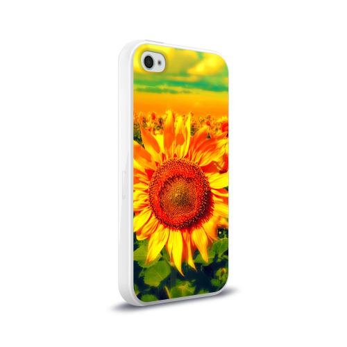 Чехол для Apple iPhone 4/4S силиконовый глянцевый Подсолнухи Фото 01