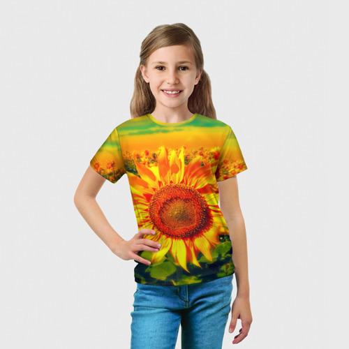 Детская футболка 3D Подсолнухи Фото 01