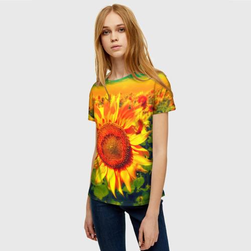 Женская футболка 3D Подсолнухи Фото 01