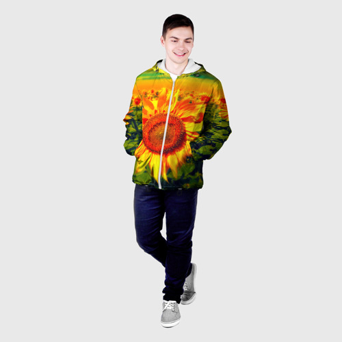 Мужская куртка 3D Подсолнухи Фото 01