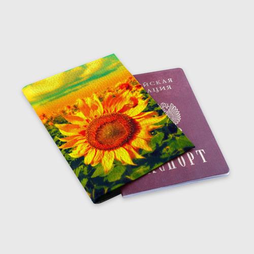 Обложка для паспорта матовая кожа Подсолнухи Фото 01