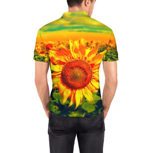 Мужская рубашка поло 3D Подсолнухи Фото 01