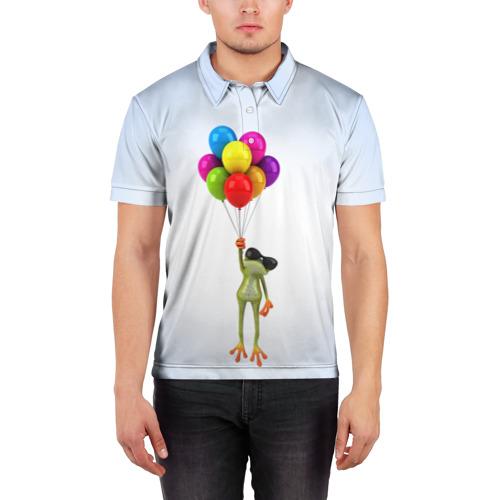 Мужская рубашка поло 3D  Фото 03, Лягушка на воздушных шарах