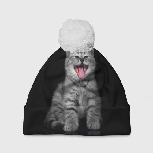 Шапка 3D c помпоном Весёлый котик