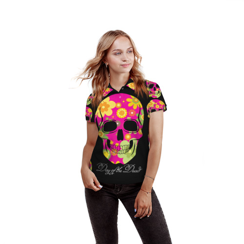 Женская рубашка поло 3D  Фото 03, Мексиканский череп