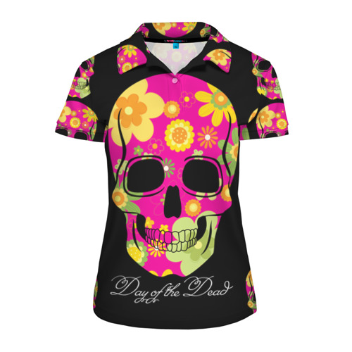 Женская рубашка поло 3D  Фото 01, Мексиканский череп
