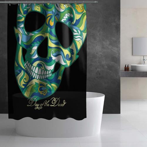 Штора 3D для ванной  Фото 02, Мексиканский череп