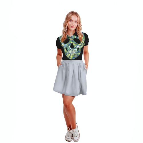 Женская рубашка поло 3D  Фото 04, Мексиканский череп