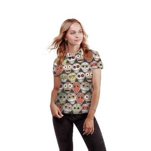 Женская рубашка поло 3D  Фото 03, Мексиканские черепа