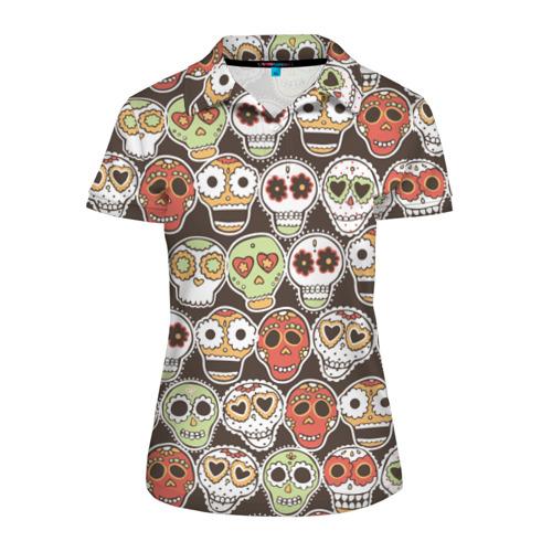 Женская рубашка поло 3D  Фото 01, Мексиканские черепа
