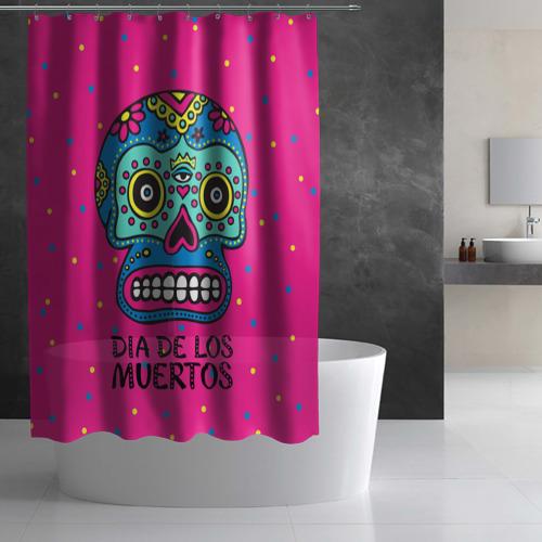 Штора 3D для ванной  Фото 03, Мексиканский череп