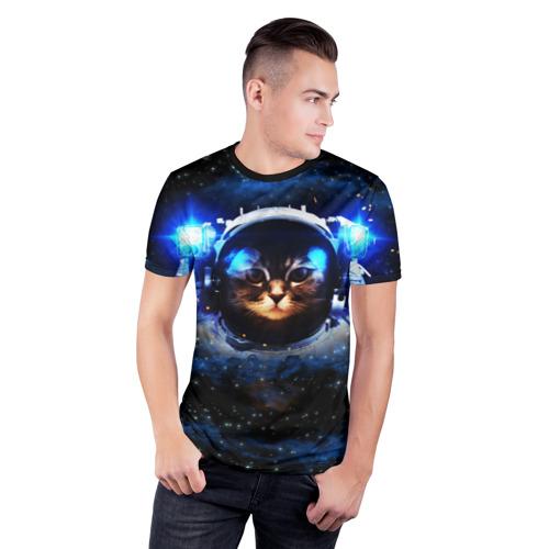 Мужская футболка 3D спортивная  Фото 03, Кот космонавт
