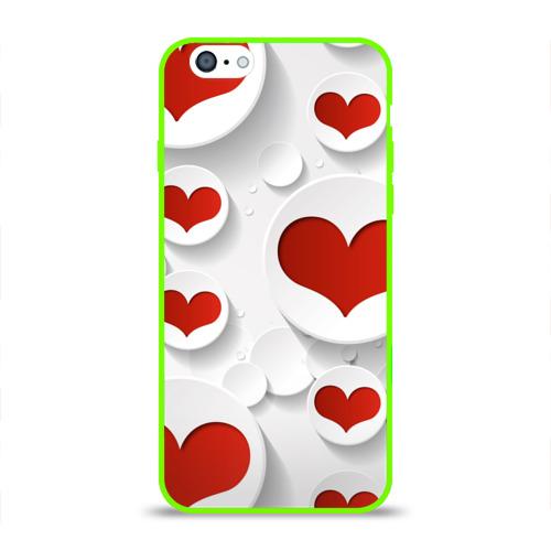 Чехол для Apple iPhone 6 силиконовый глянцевый  Фото 01, Сердца 2
