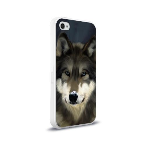Чехол для Apple iPhone 4/4S силиконовый глянцевый Картина волк Фото 01
