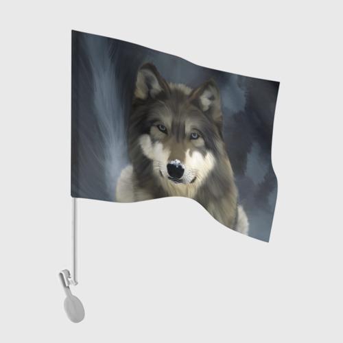 Флаг для автомобиля Картина волк Фото 01