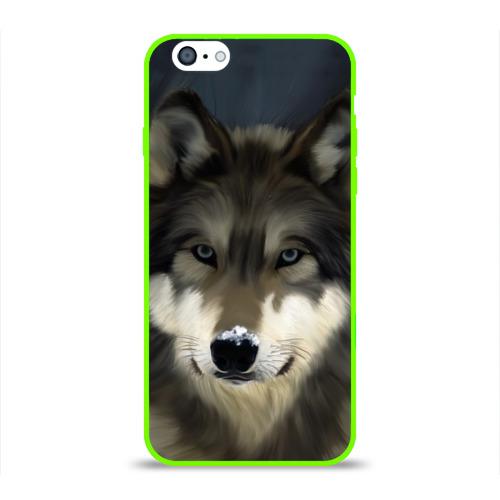 Чехол для Apple iPhone 6 силиконовый глянцевый Картина волк Фото 01