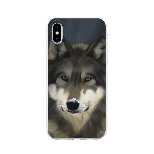 Чехол для Apple iPhone X силиконовый матовый Картина волк Фото 01