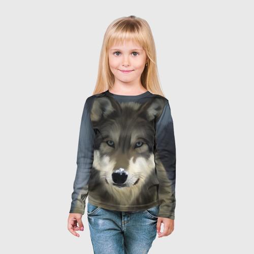 Детский лонгслив 3D Картина волк Фото 01