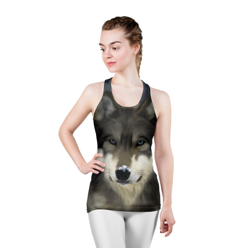 Женская майка 3D спортивная Картина волк Фото 01