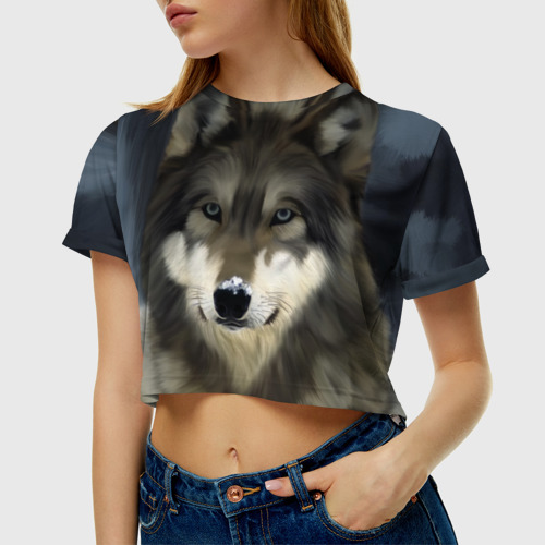 Женская футболка Crop-top 3D Картина волк Фото 01