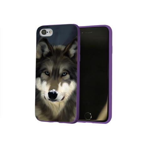 Чехол для Apple iPhone 8 силиконовый глянцевый Картина волк Фото 01