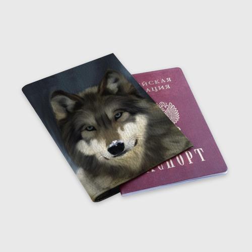 Обложка для паспорта матовая кожа Картина волк Фото 01
