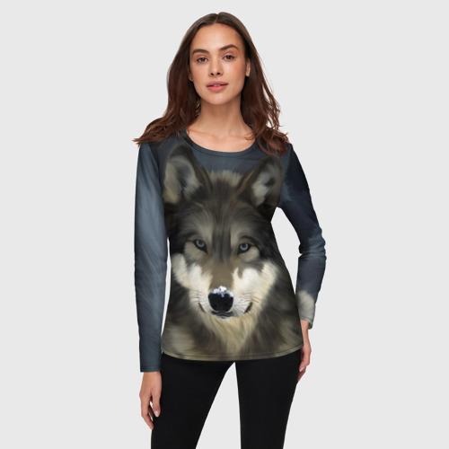 Женский лонгслив 3D Картина волк Фото 01