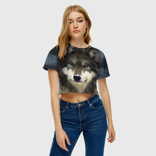Женская футболка Cropp-top Картина волк Фото 01