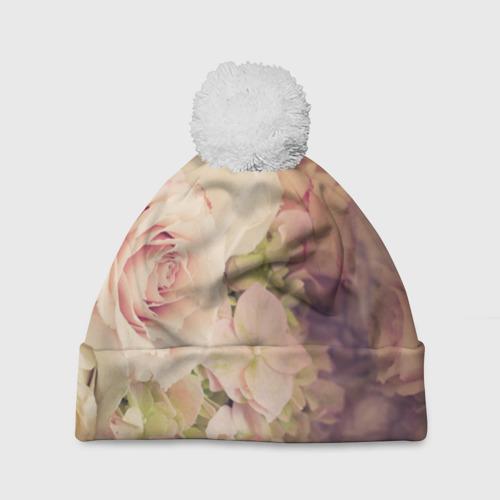 Шапка 3D c помпоном  Фото 01, Винтажные розы