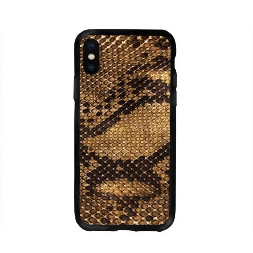 Чехол для Apple iPhone X силиконовый глянцевый Змеиная кожа Фото 01