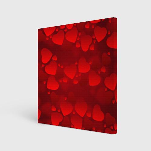 Холст квадратный  Фото 01, Красные сердца