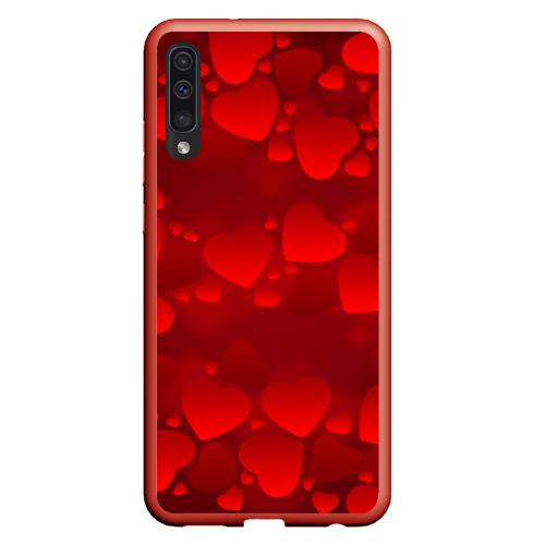 Чехол для Samsung A50 Красные сердца Фото 01