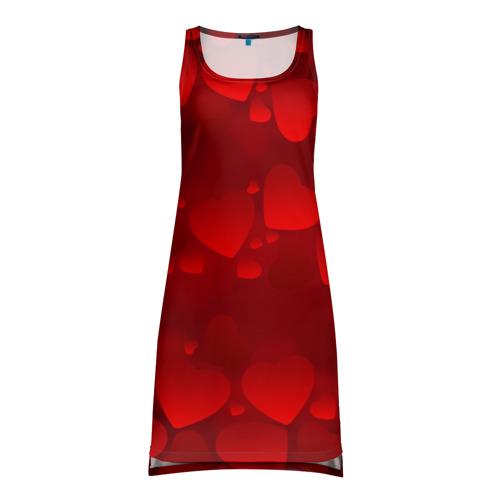 Платье-майка 3D Красные сердца