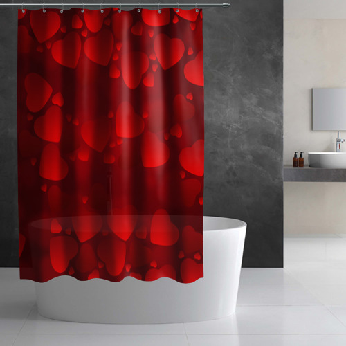 Штора 3D для ванной Красные сердца Фото 01