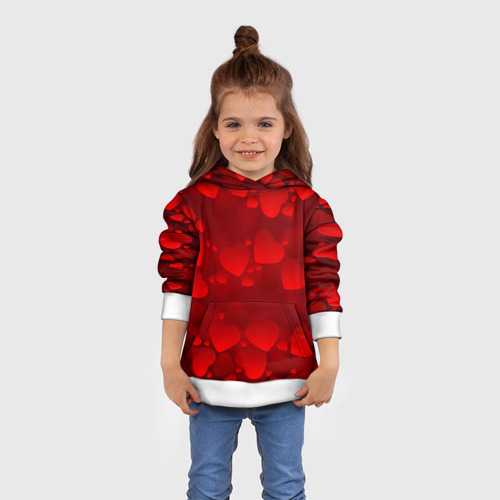 Детская толстовка 3D Красные сердца