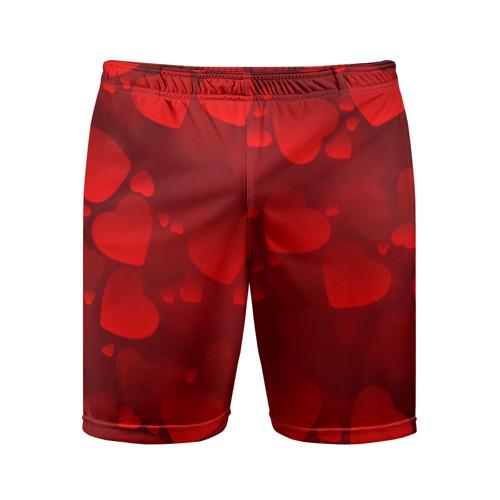 Мужские шорты 3D спортивные Красные сердца