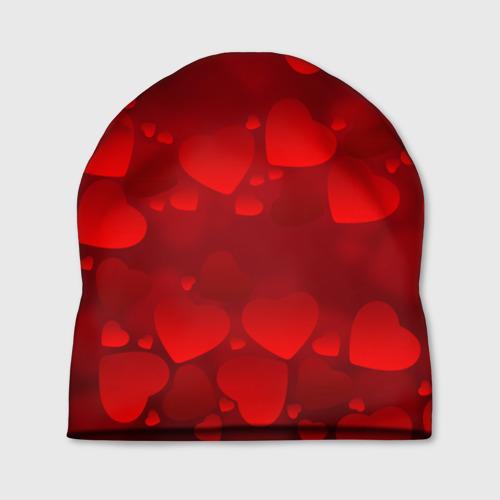 Шапка 3D Красные сердца