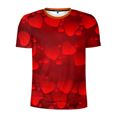 Мужская футболка 3D спортивная Красные сердца
