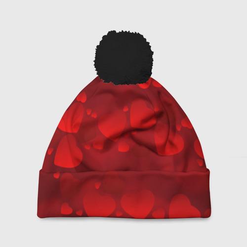 Шапка 3D c помпоном Красные сердца