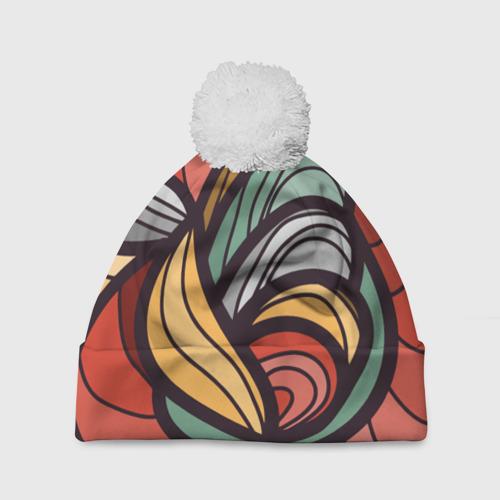 Шапка 3D c помпоном  Фото 01, Грациозные волны цвета