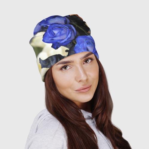 Шапка 3D  Фото 03, Синие розы