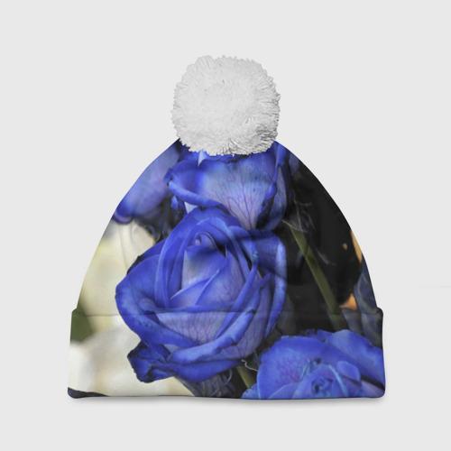 Шапка 3D c помпоном  Фото 01, Синие розы