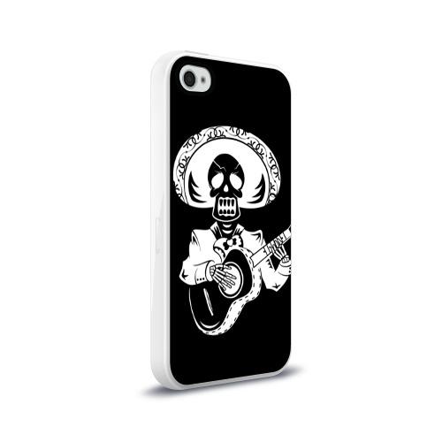 Чехол для Apple iPhone 4/4S силиконовый глянцевый  Фото 02, Мексиканский череп