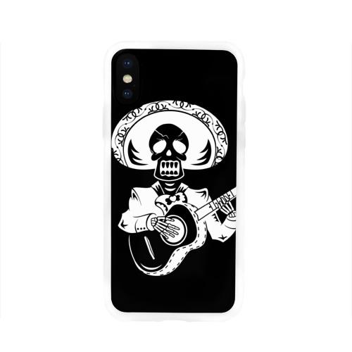 Чехол для Apple iPhone X силиконовый глянцевый  Фото 01, Мексиканский череп