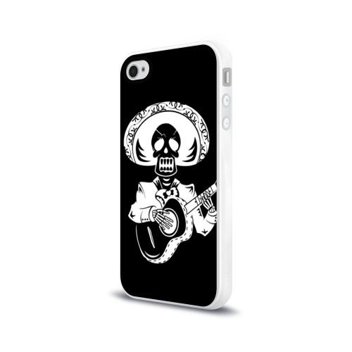 Чехол для Apple iPhone 4/4S силиконовый глянцевый  Фото 03, Мексиканский череп