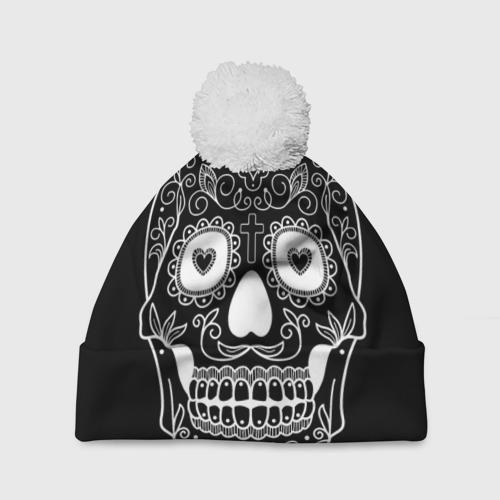 Шапка 3D c помпоном  Фото 01, Мексиканский череп