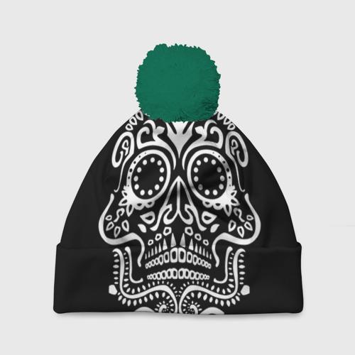 Шапка 3D c помпоном Мексиканский череп Фото 01