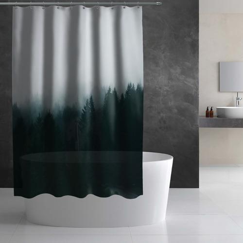 Штора 3D для ванной Лес Фото 01